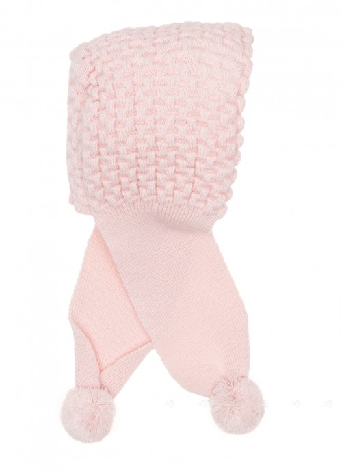 Pale Pink Knitted Hat with Scarf & Pom-Poms
