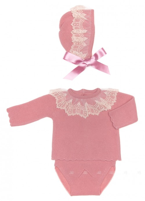 Baby Dusky Pink Knitted Sweater, Knickers & Bonnet Set with Lace Adornment