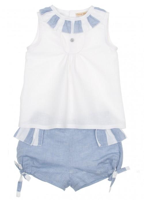 White Ruffle Collar Blouse & Blue Striped Shorts Set