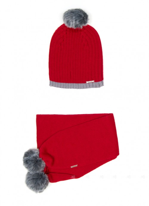 Red Knitted Hat & Scarf Set wit Gray Pom-Poms