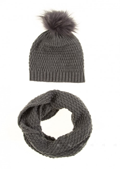 Grey Knitted Hat & Snood Set with Fur Pompom