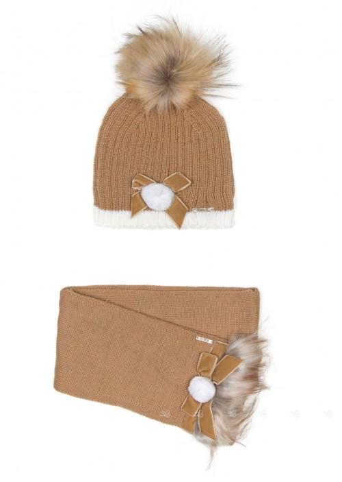 Beige Knitted Hat with Pom-Pom & Scarf Set