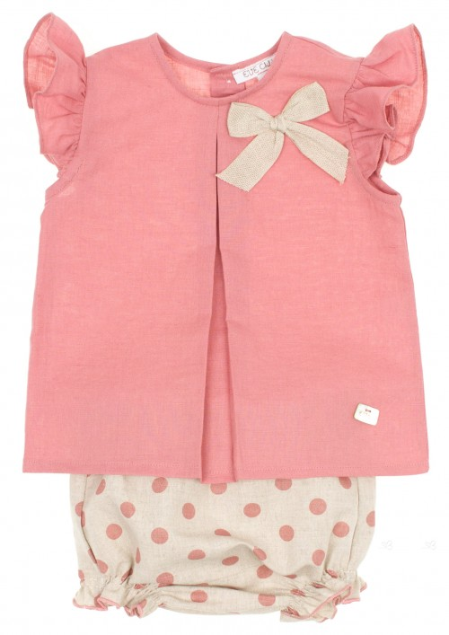 Baby Dusky Pink Blouse & Polka Dot Shorts Set