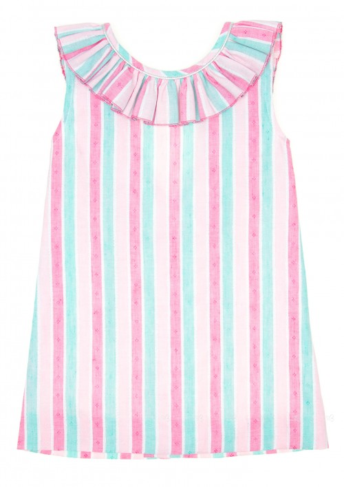 Colourful Striped Dress with Ruffle Collar