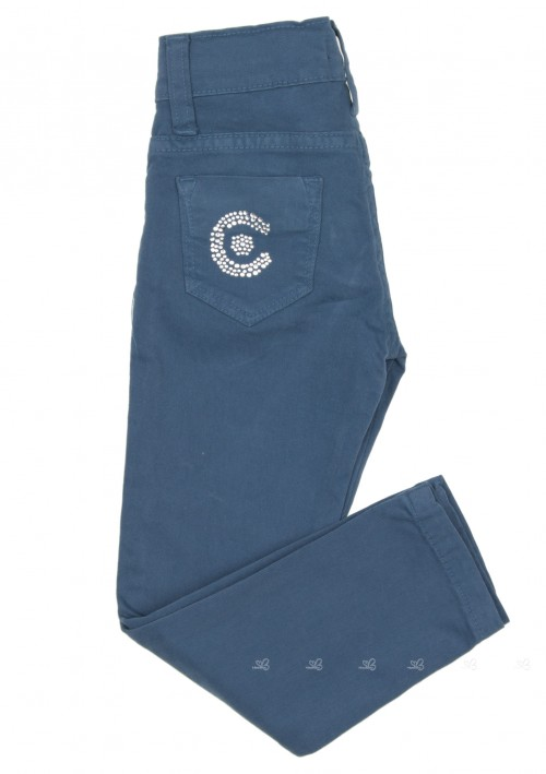 Girls Blue Cotton Skinny Fit Trousers