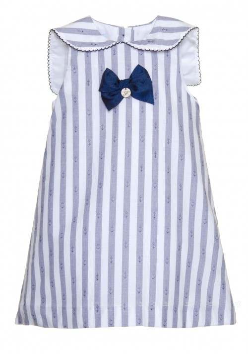 Blue & White Striped Anchor Dress