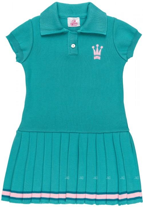 Vestido Niña Punto con Falda Tablas Azul Turquesa