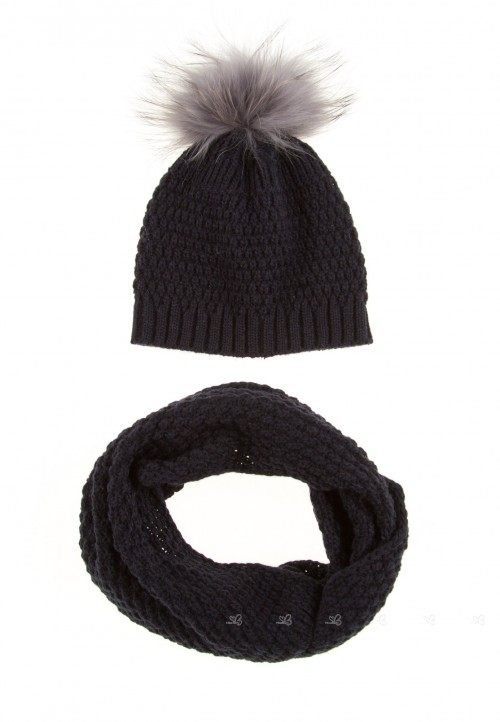 Dark Blue Knitted Hat & Snood Set with Fur Pompom