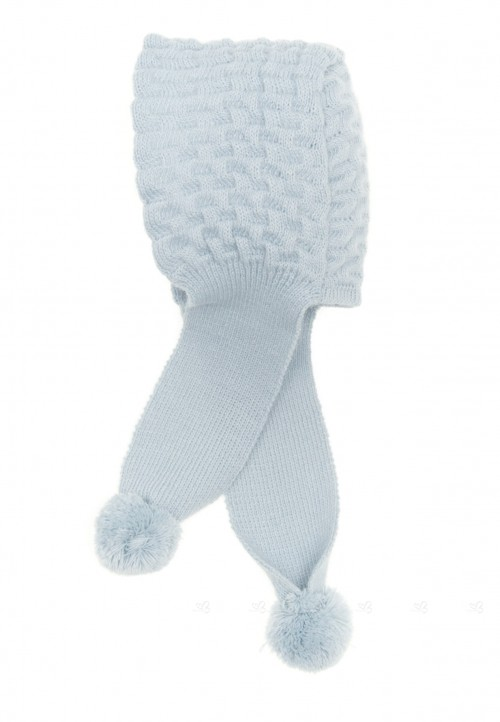 Pale Blue Knitted Hat with Scarf & Pom-Poms
