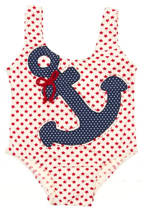 Red & Ivory Star Swimsuit with anchor