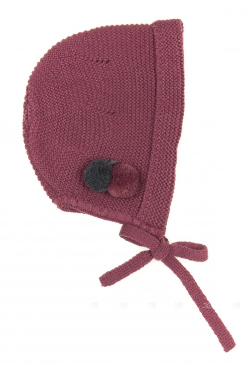 Baby Plum & Gray Knitted Bonnet with Pompoms