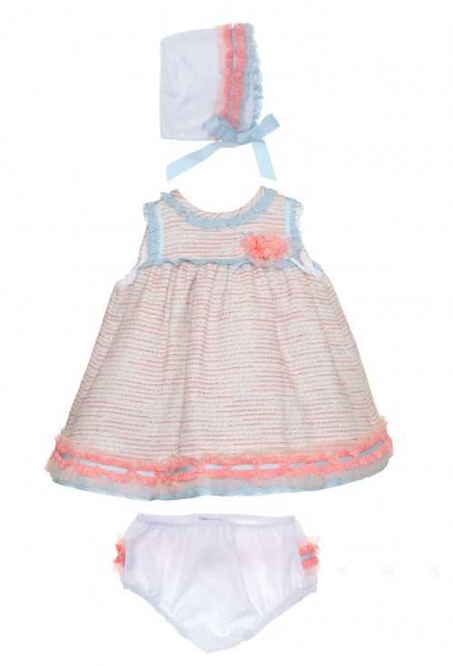 Baby Girls Blue & Pink Tweed 3 Piece Outfit