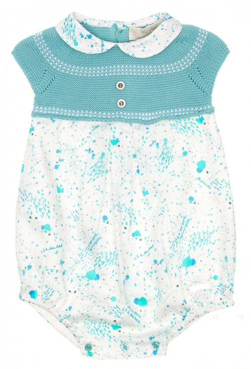 Turquoise Fine Knit & Cotton Babysuit