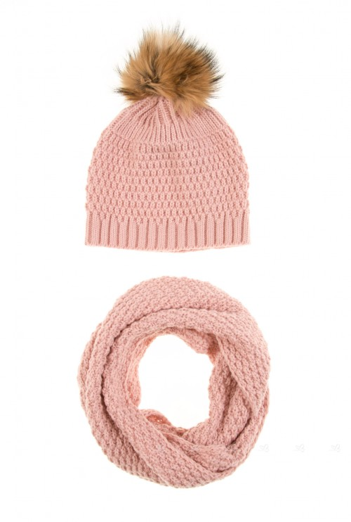 Dusky Pink Knitted Hat & Snood Set with Fur Pompom