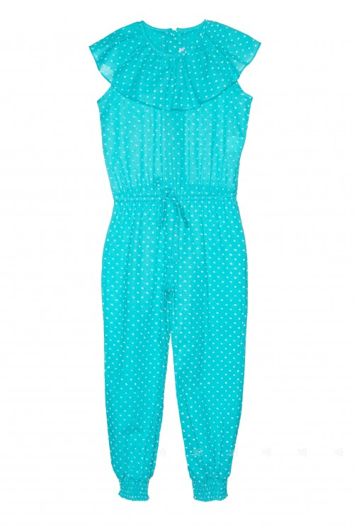 Aqua Green Polka Dot Jumpsuit