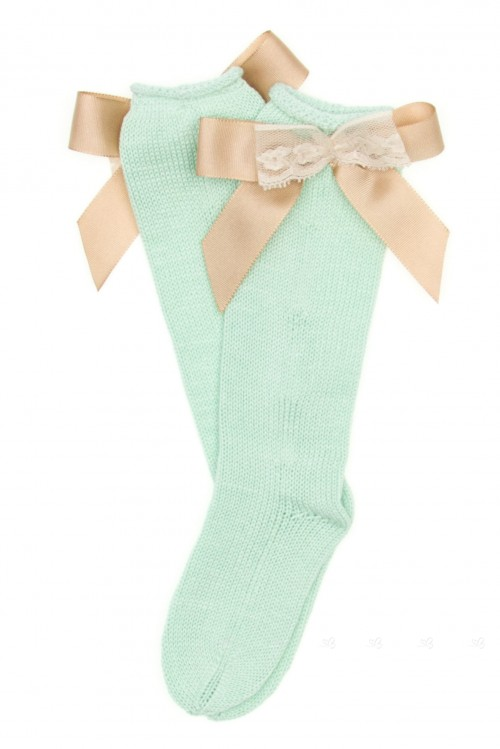 Pastel Green Fine Knitted Long Socks With Beige Grosgrain bow (DELIVERY 15 APRIL)