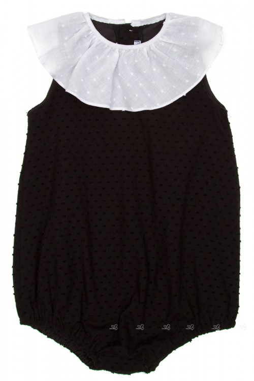Girls Black & White Polka Dot Playsuit