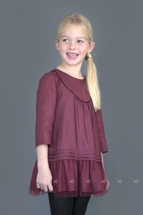 Girls Burgundy Dress with Tulle Skirt