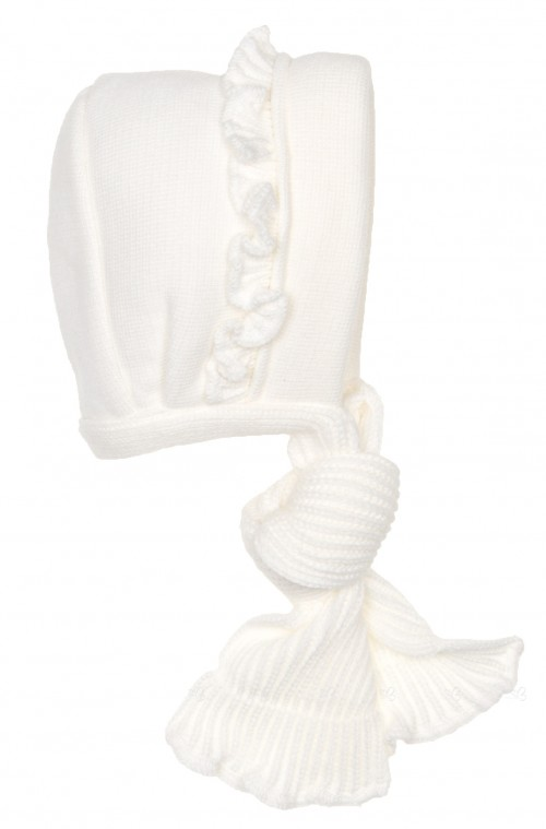 Baby Ivory Knitted Frilly Bonnet With Cotton Lining