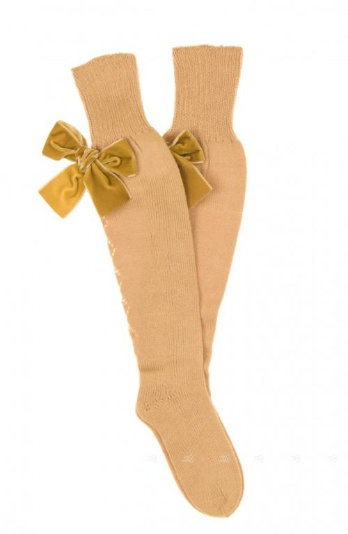 Mustard Fine Knitted Long Socks with Velvet Bow