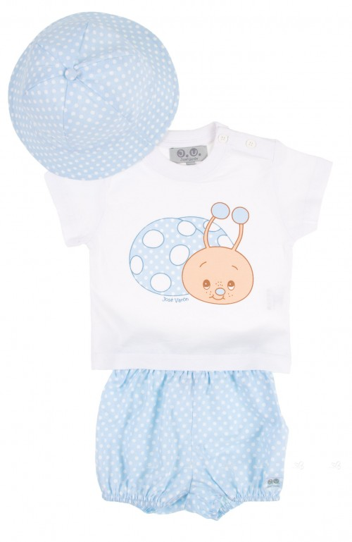 Baby Boys Light Blue & White Snail 3 Piece Swim Set