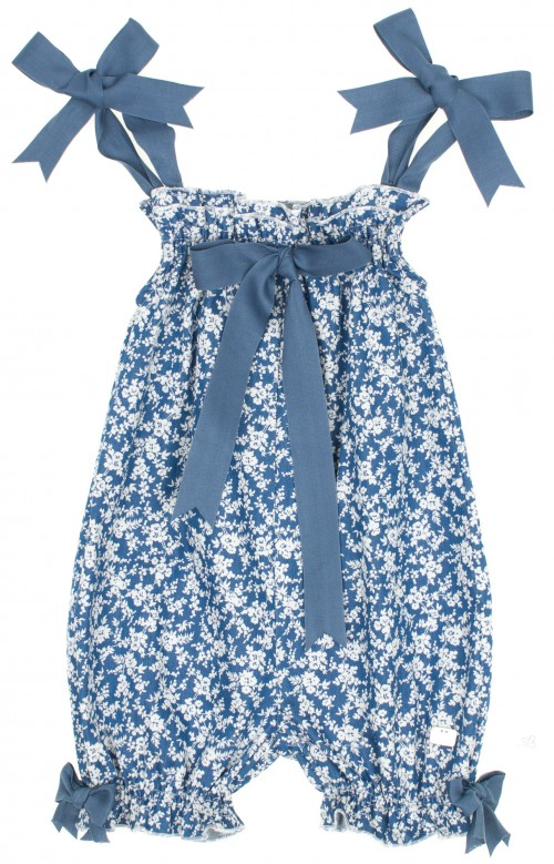 Blue & White Liberty Playsuite with bows