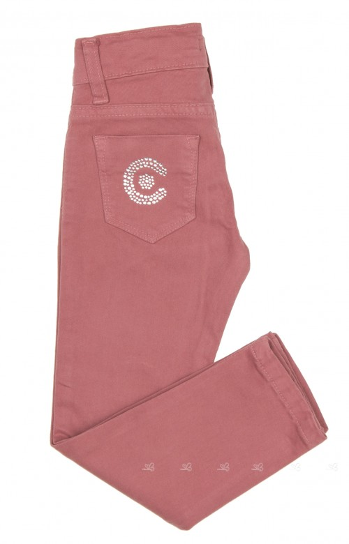 Girls Pink Cotton Skinny Fit Trousers