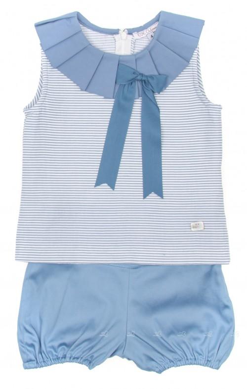 Blue Striped Top & Short  2 Piece Set