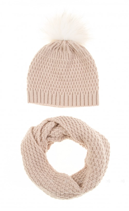 Beige Knitted Hat & Snood Set with Fur Pompom