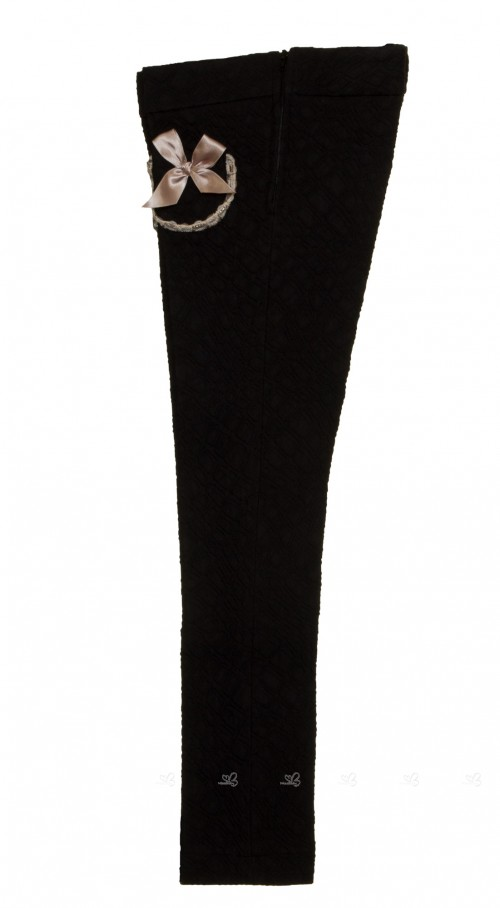 Black Brocade Skinny Trousers