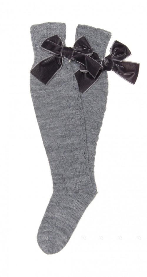 Gray Fine Knitted Long Socks with Velvet Bow