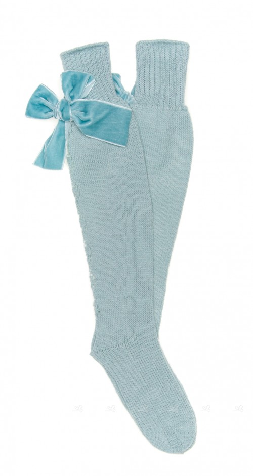 Mint Fine Knitted Long Socks with Velvet Bow
