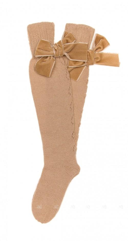 Beige Fine Knitted Long Socks with Velvet Bow