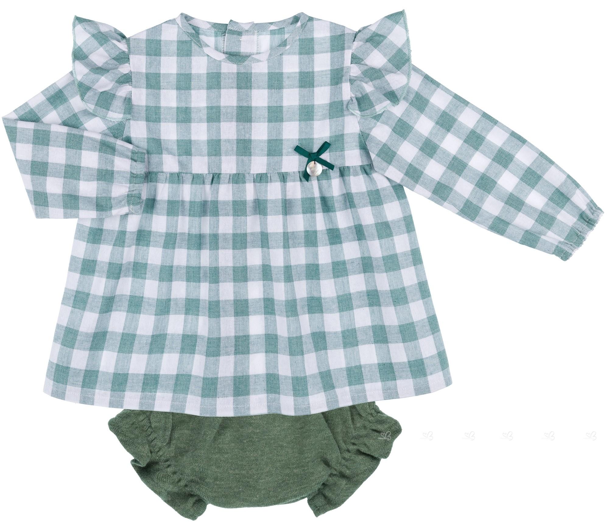749242144 Baby Yiro Conjunto Bebé Niña Blusa Aletas Vichy & Braguita Punto Verde ...