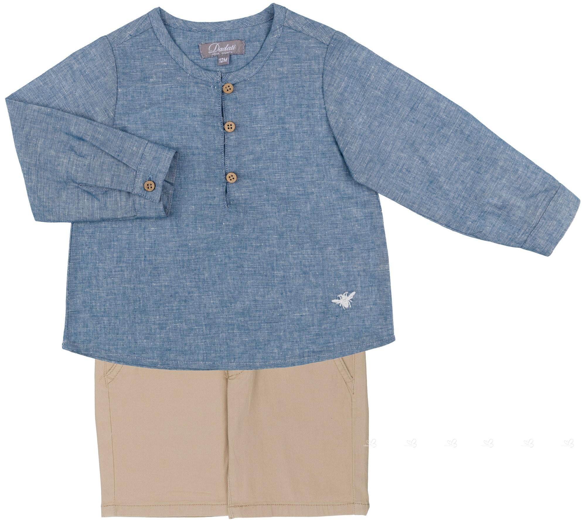 6cac28e207f Home  Boys Blue Denim Shirt   Beige Shorts 2 Piece Set. Dadati Conjunto  Niño Camisa Denim   Short Camel ...