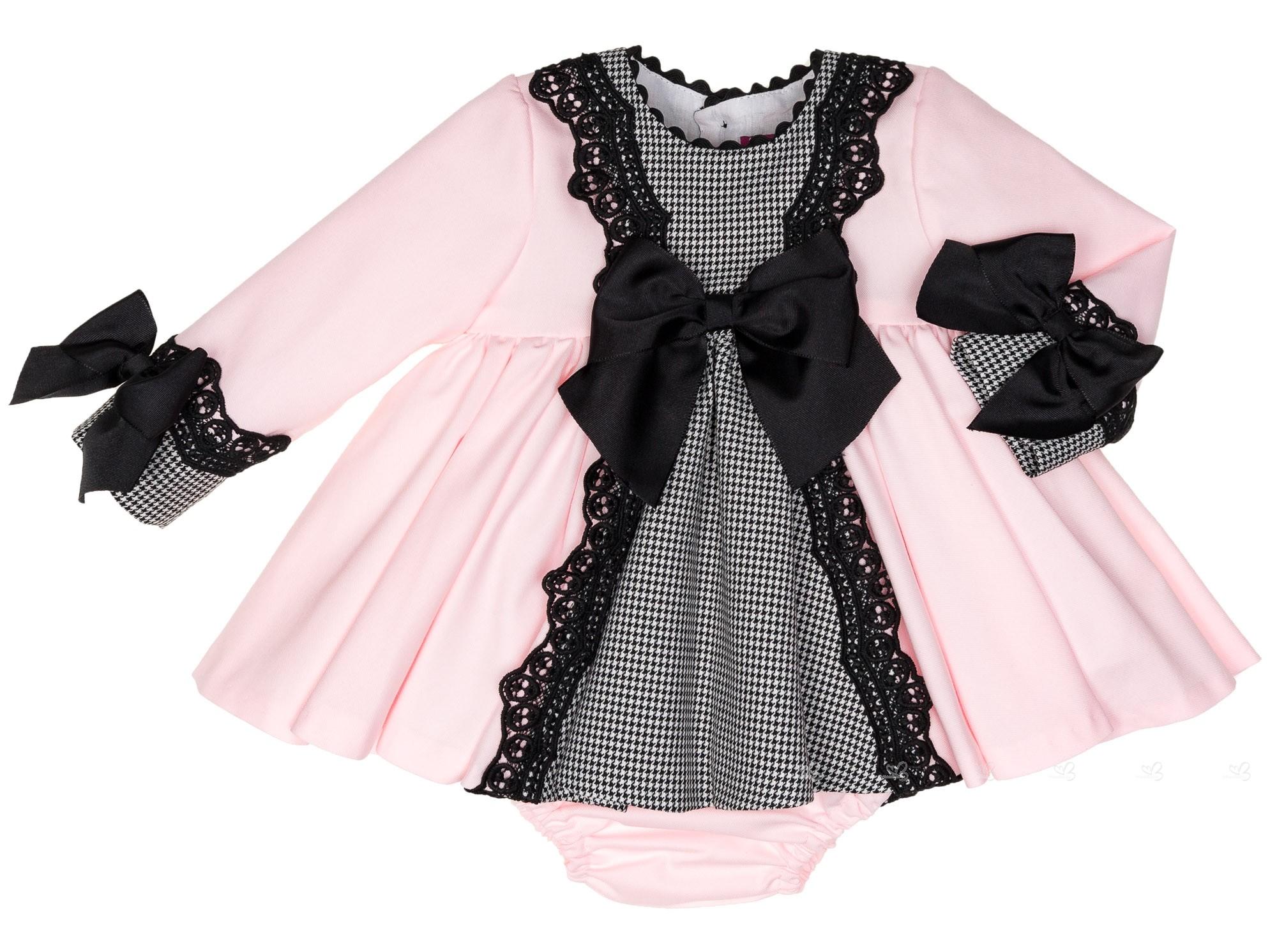 Baby Girls Pink Houndstooth 2 Piece Dress Set