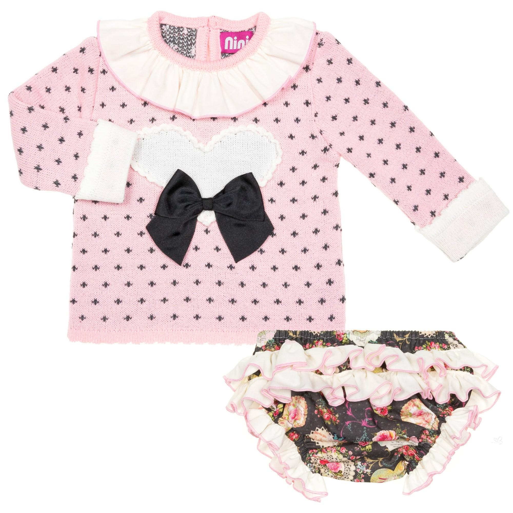 Baby Girls Pink & Green Heart Sweater & Floral Shorts Set | Missbaby