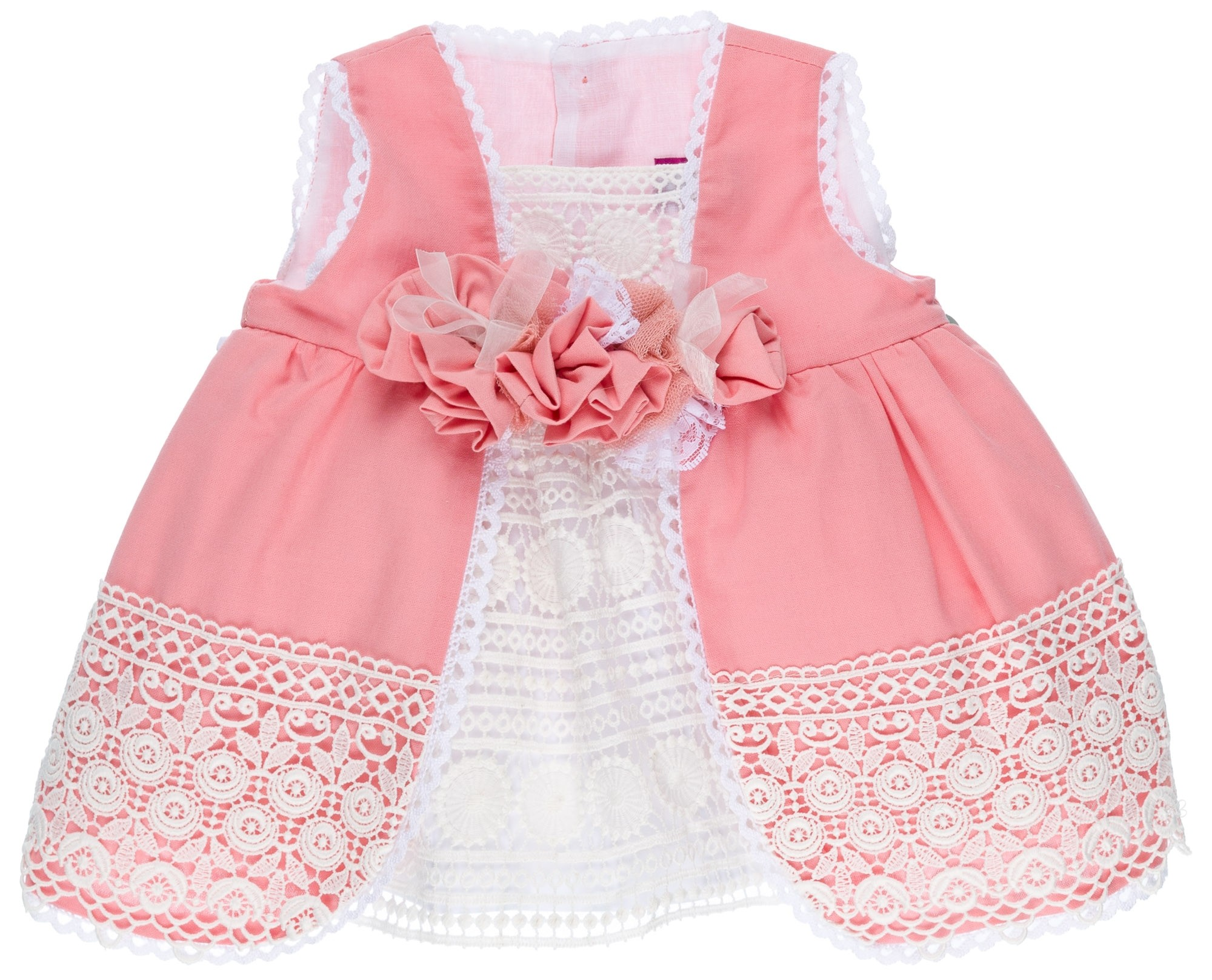 ab2b437c4 Baby Girls Pink & White Broderie 2 Piece Dress Set