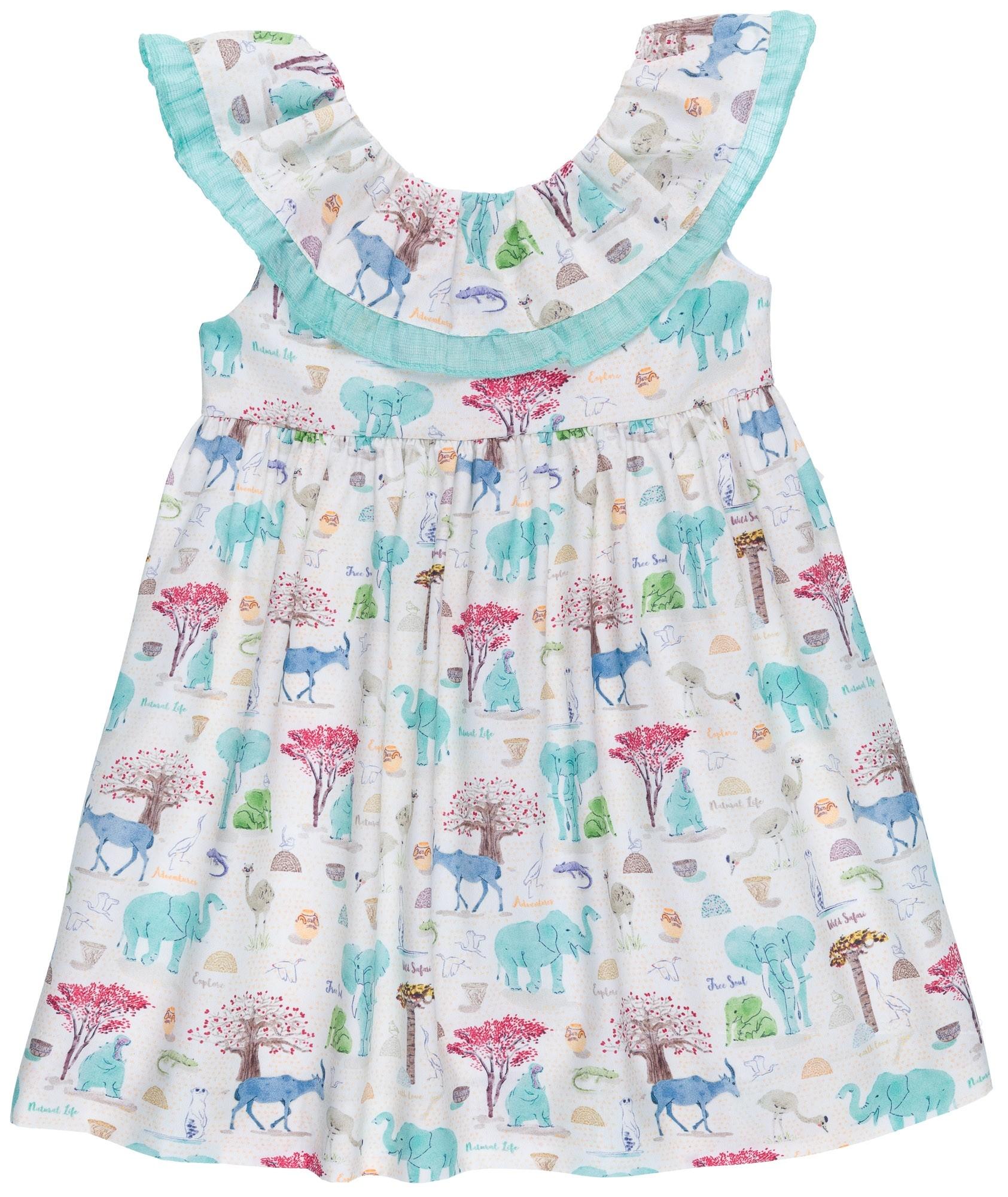5169ad48d Home; Girls Aqua Green Animal Print Dress with Ruffle Collar. Ancar Vestido  Niña Cuello Volante & Lazada Estampado Animales Verde Agua ...