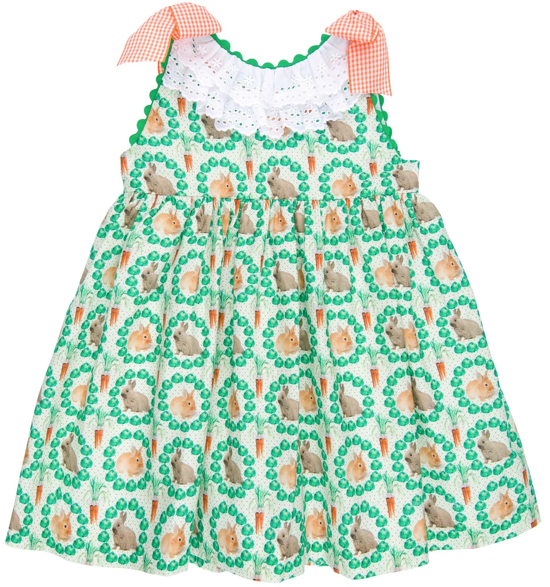 10d1b3113 Girls Green Rabbit Print Dress & Gingham Bows