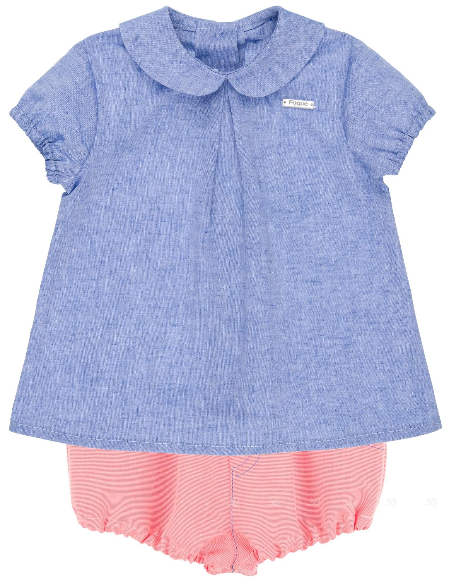 42790a136e4 Foque Baby Boys Denim Blue Shirt   Fluor Coral 2 Piece Shorts Set ...