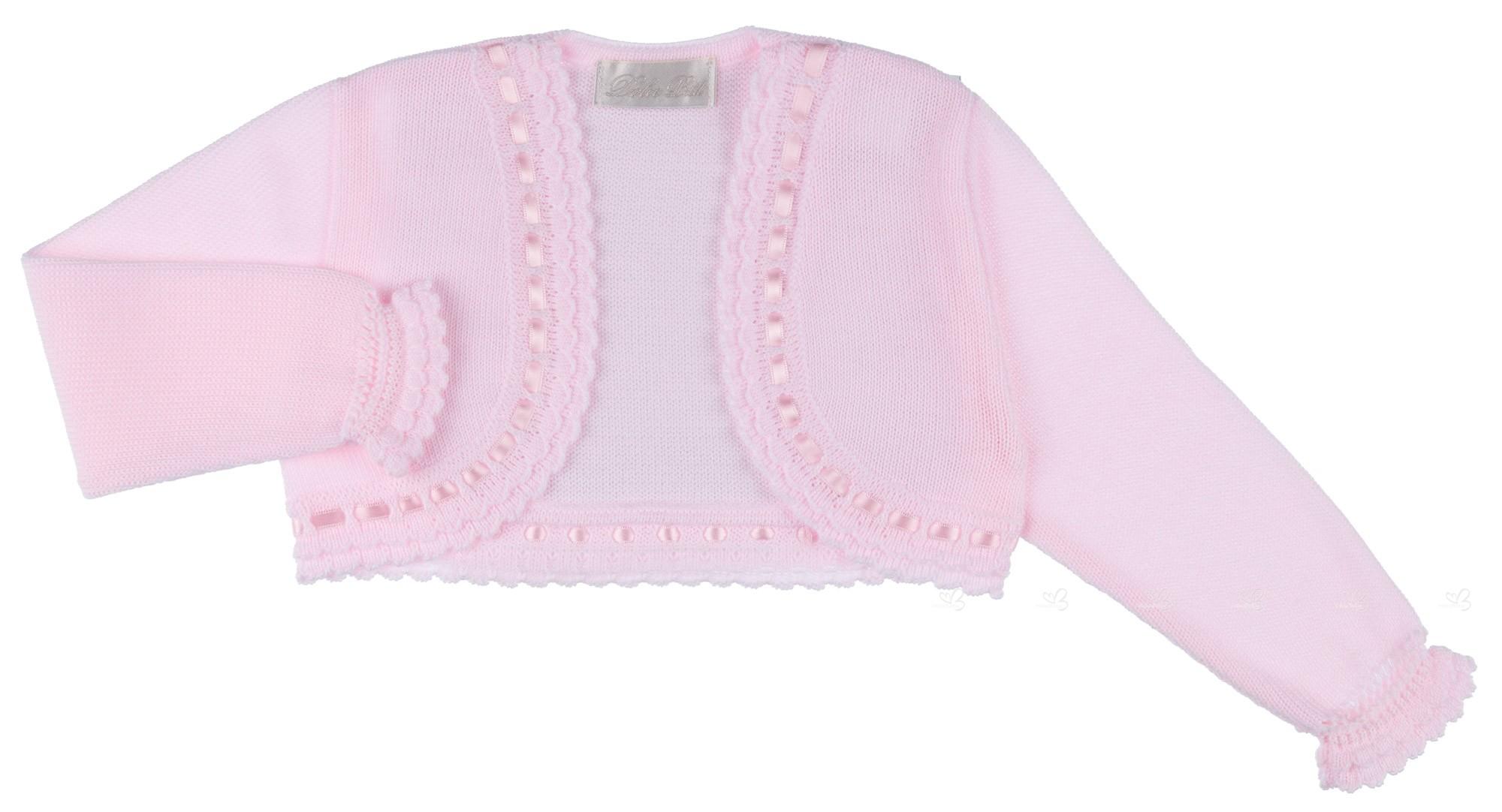 5d3190db1 Dolce Petit Baby Girls Pink Knitted Bolero Cardigan