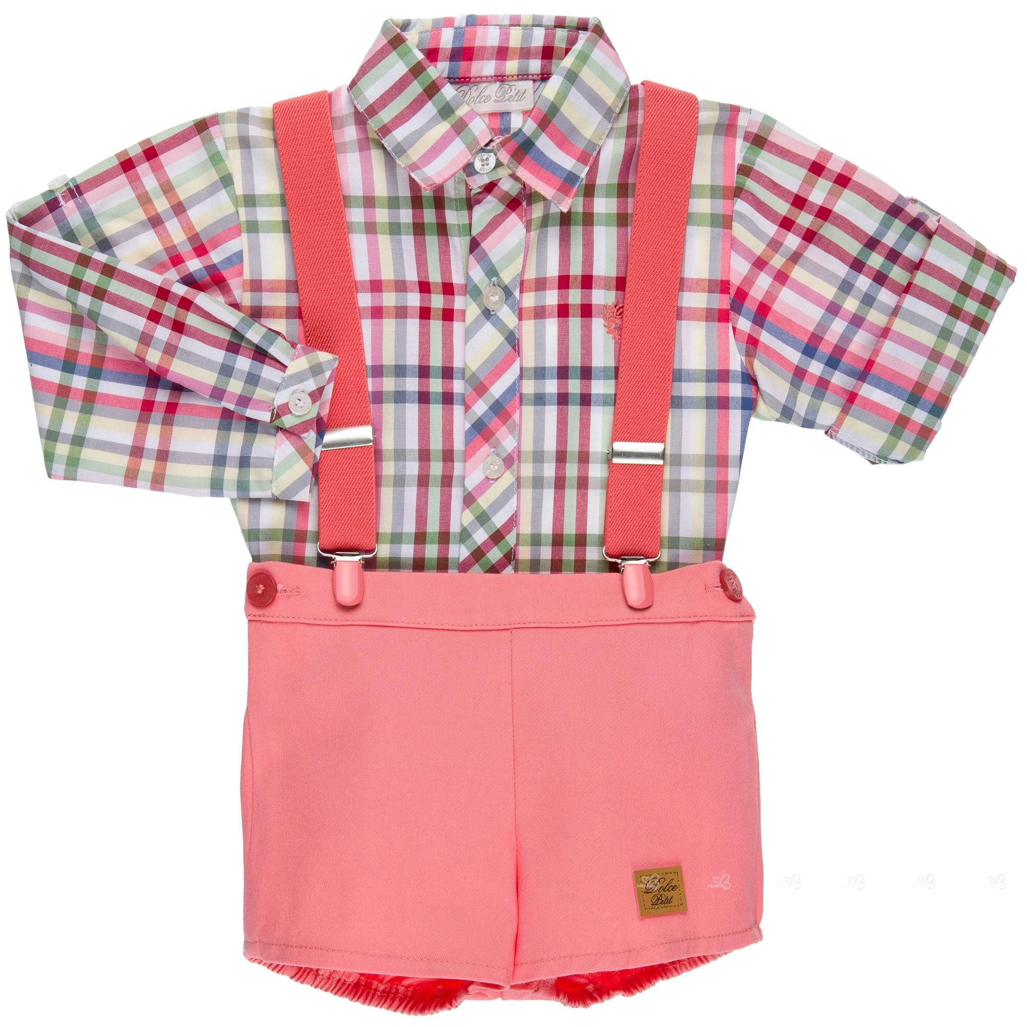 ce794c612 Home; Baby Boys Checked Shirt & Coral Pink 3 Piece Shorts Set. Conjunto  Bebé Camisa Cuadros & Short Coral ...
