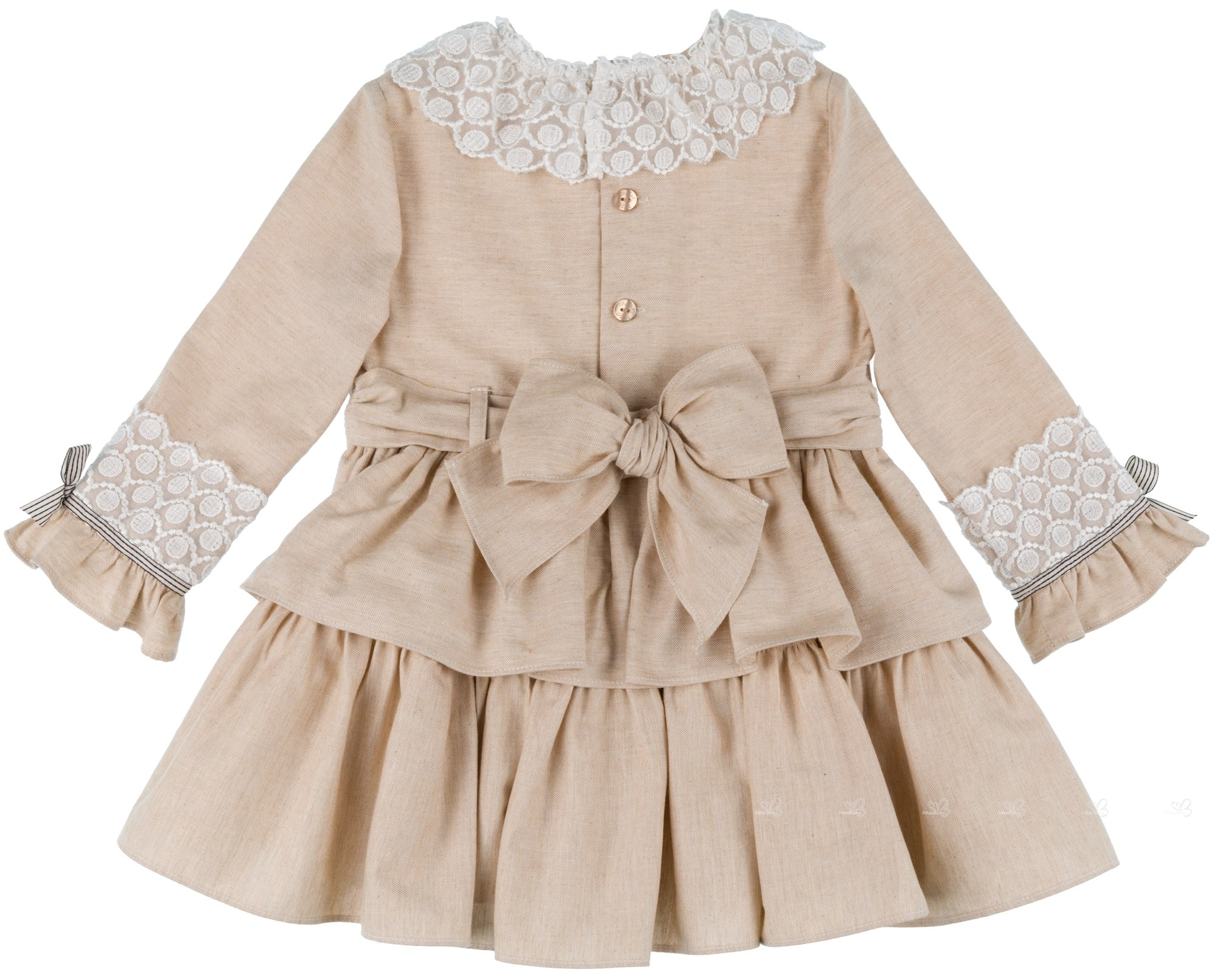 Beige Dress Picture Collection: Dolce Petit Girls Beige Ruffle Layered Dress With Lace