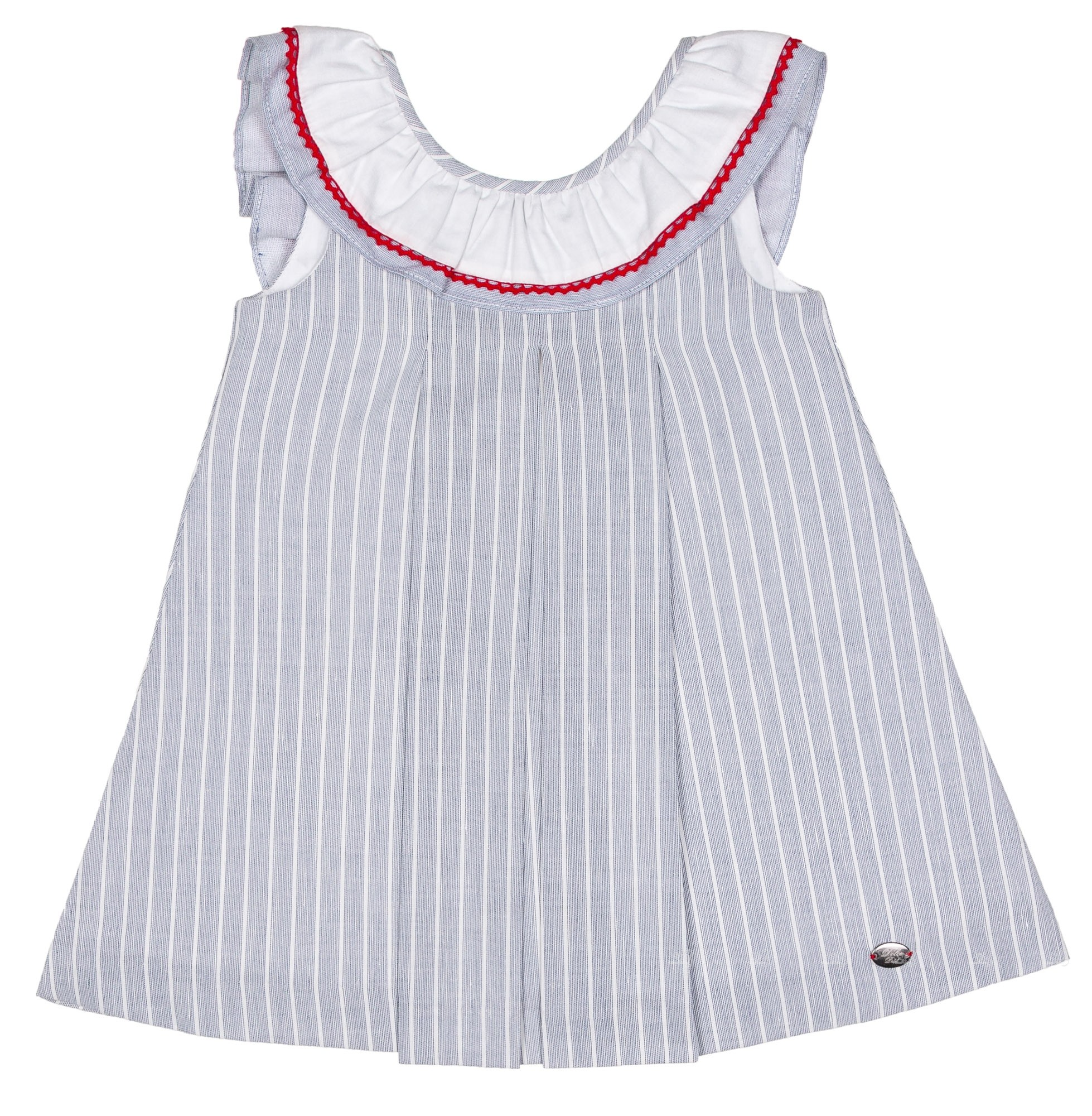 5a35a8f3e Dolce Petit Girls Denim Blue   White Striped Dress with Back Maxi ...