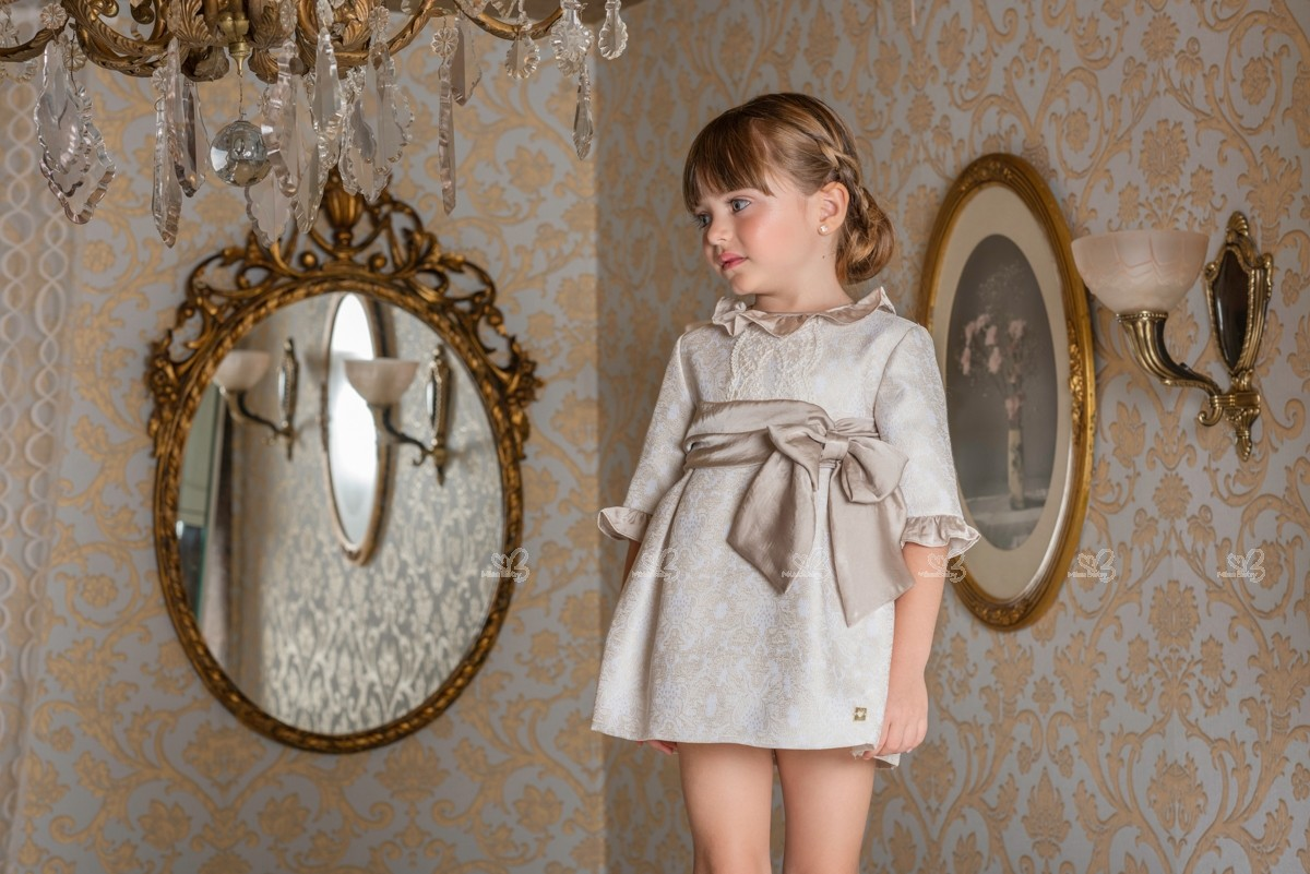 Beige Dress Picture Collection: Dolce Petit Girls Beige Brocade Shift Dress With Sash