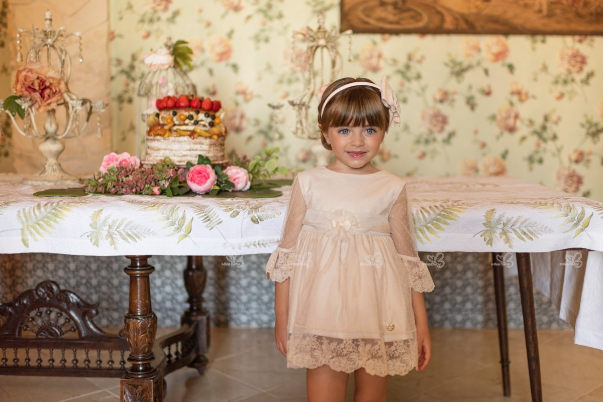 Beige Dress Picture Collection: Dolce Petit Girls Beige Tulle & Lace Dress