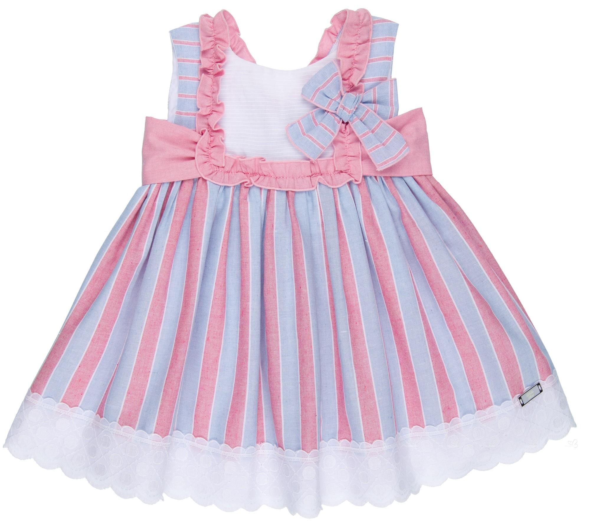 cd675657a Home; Girls Blue & Pale Pink Cotton Striped Dress. Vestido Niña Canesú  Algodón Rayitas Azul & Rosa ...