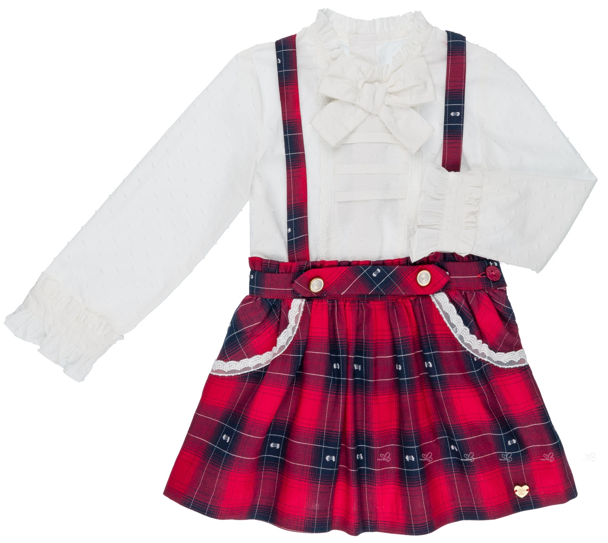 48dbcdbdb0 Dolce Petit Girls Ivory Blouse & Red Tartan Skirt with Braces | Missbaby