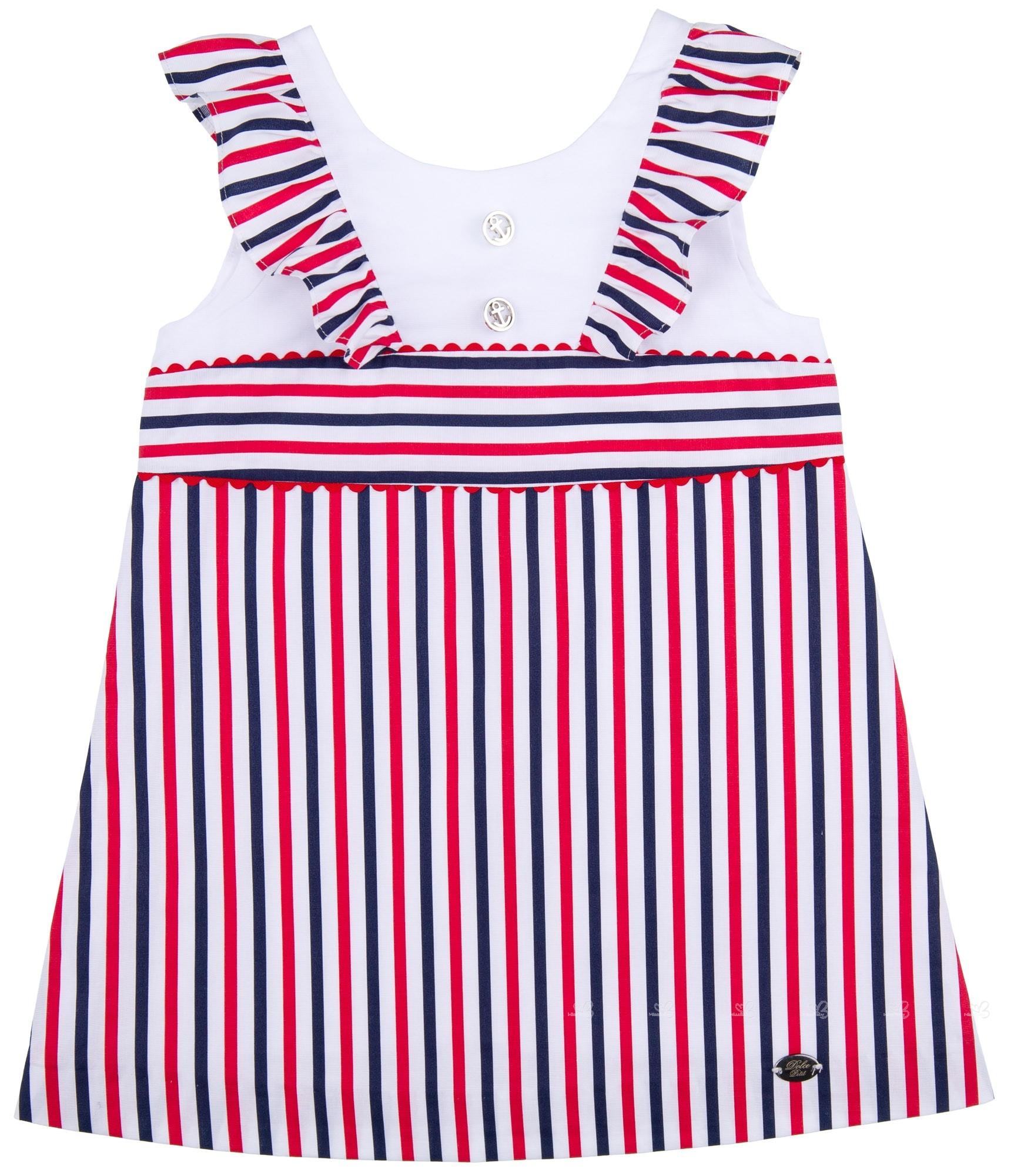 7042a75b31b Girls Red & Navy Blue Striped Sailor Shift Dress